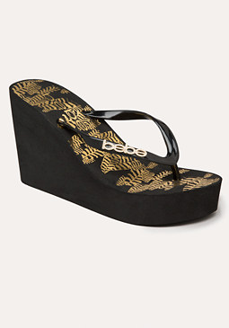 bebe Tigris Wedge Flip Flops