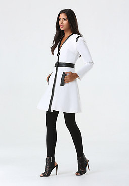 bebe Ita Fit & Flare Trench Coat