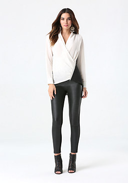 bebe Silk Zip Wrap Top