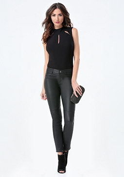 bebe Slit Mock Neck Bodysuit