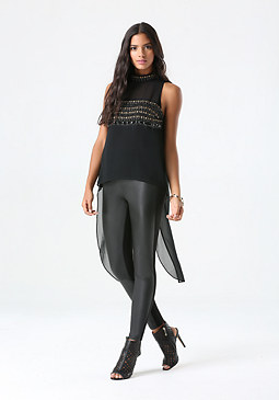 bebe Embellished Hi-Lo Top