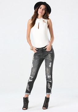bebe Hematite Embellished Jeans