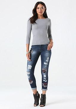 bebe Azurite Embellished Jeans