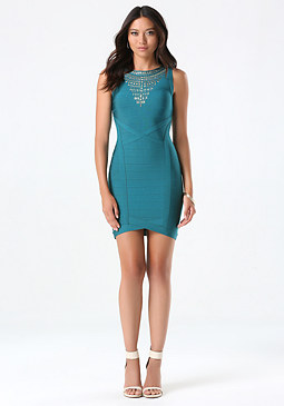 bebe Studded Bib Bandage Dress
