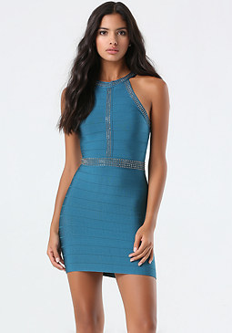 bebe Stud Bandage Halter Dress
