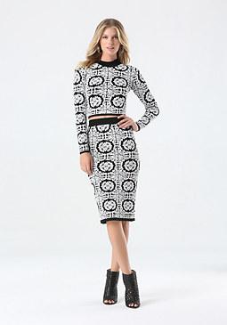bebe Jacquard Tile Midi Skirt