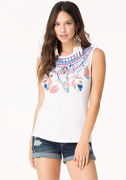 bebe Logo Feather Necklace Tee