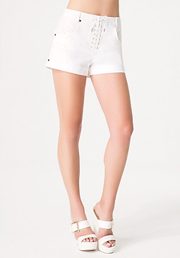 bebe Front Lace Denim Shorts