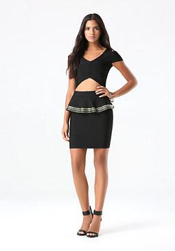 bebe Embellished Peplum Skirt