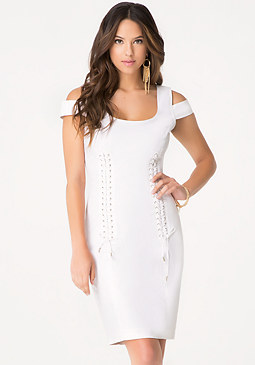 bebe Denim Double Lace Up Dress