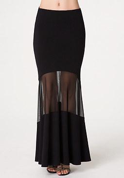 bebe Mesh Inset Maxi Skirt