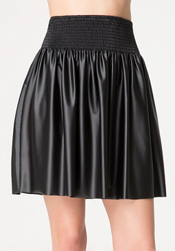 bebe Smocked Faux Leather Skirt