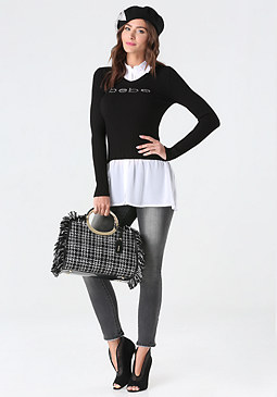 bebe Logo 2-Fer Sweater Top