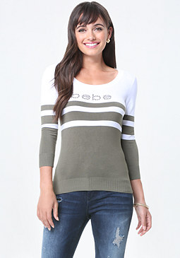 bebe Logo Striped Sweater