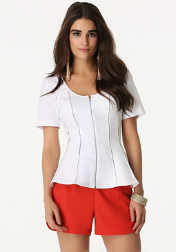 bebe Zip Front Fitted Top