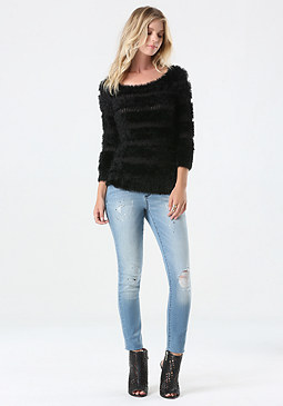 bebe Eyelash Boatneck Sweater