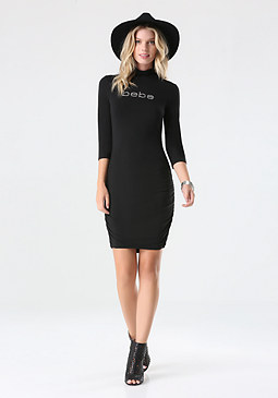 bebe Logo Mock Neck Ruched Dress