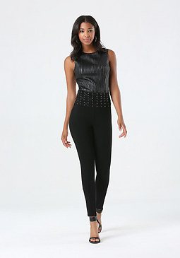bebe Laced Waist Corset Leggings