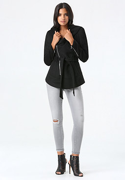 bebe Asymmetric Zip Hooded Coat