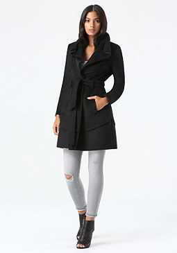 bebe Abbie Knee Length Wrap Coat