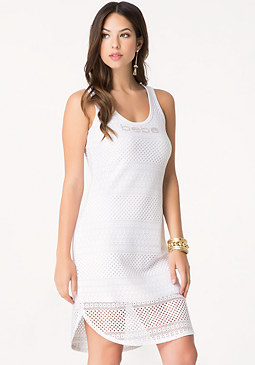 bebe Logo Mesh Shirttail Dress