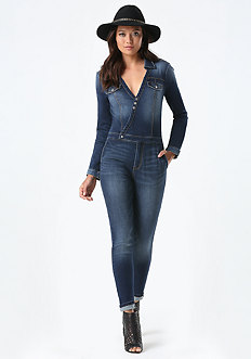 Denim Surplice Jumpsuit