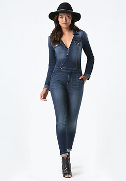 bebe Denim Surplice Jumpsuit