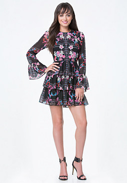 bebe Print Ruffle Tiered Dress