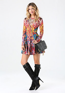bebe Print Embellished Dress