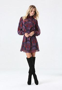 bebe Print Smocked Dress