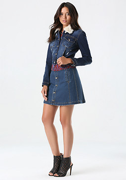 bebe Faux Fur Trim Denim Jacket