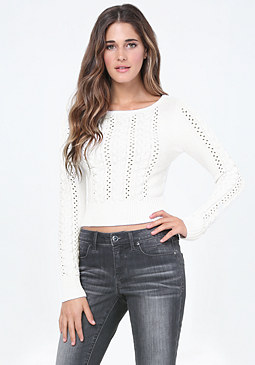 bebe Open Cable Crop Sweater