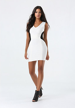 bebe Black & White Bandage Dress