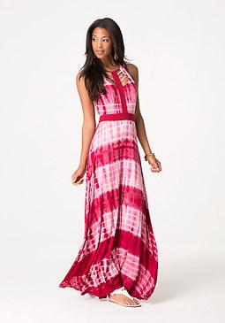 bebe Print Cage Neck Maxi Dress