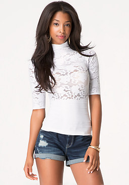 bebe Sheer Lace Mock Neck Top