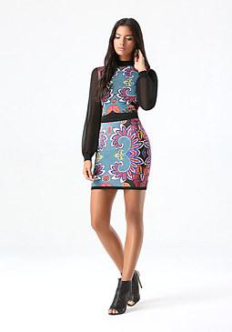bebe Print Sweater Miniskirt