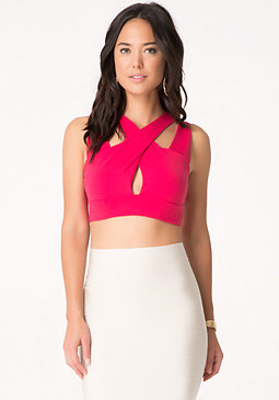 bebe Cross Front Crop Top
