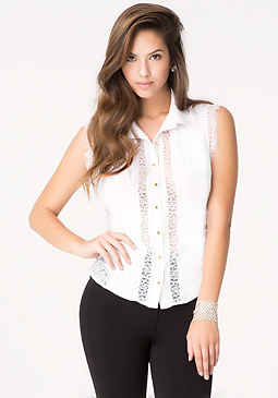 bebe Eyelash Lace Shirt