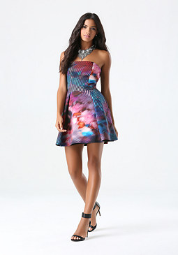 bebe Print Scuba Strapless Dress