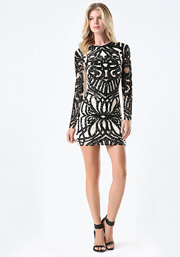 bebe Sequin Mesh Dress
