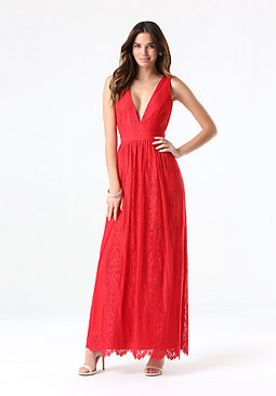 bebe Lace Plunge Neck Maxi Dress