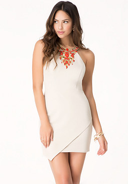 bebe Jeweled Ponte Dress