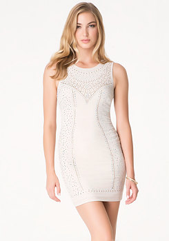 bebe Crystal Stud Mesh Dress