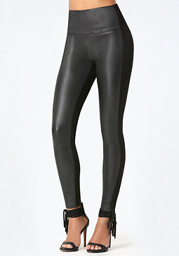bebe Leather Front Leggings