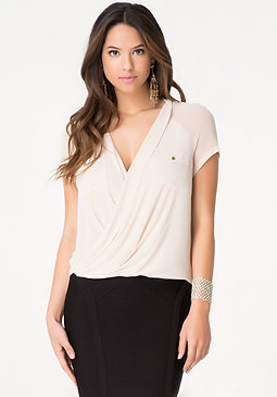 bebe Solid Mesh Surplice Top