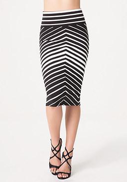 bebe Angled Stripe Midi Skirt