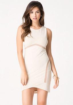 bebe Mesh Inset Studded Dress