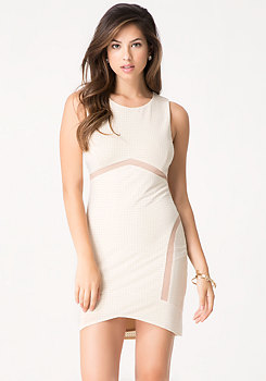 bebe Mesh Inset Studded Dress