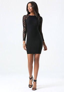 bebe Lace Sleeve Dress