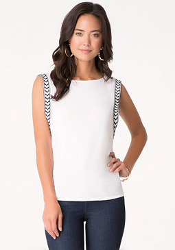 bebe Solid Embroidered Tee